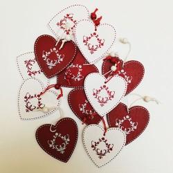 Ukrasi crveno beli Srce 12 kom